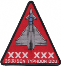 No. 29 (R) Squadron RAF Eurofighter Typhoon OCU Triangle Embroidered Patch